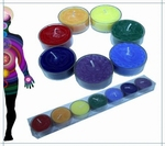 Geur waxinelichtjes in de 7 chakra kleuren